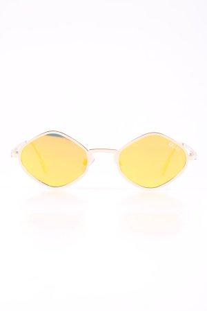 Quay ovale Sonnenbrille blassgelb-goldfarben Glanz-Optik