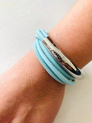 Lizas Bracelet en cuir bleu clair