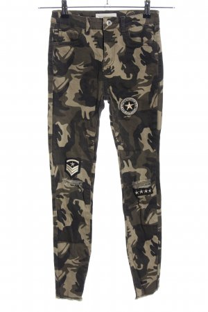 Queen Hearts Paris Skinny Jeans khaki Camouflagemuster Casual-Look