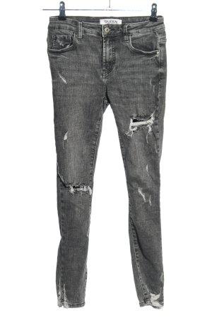 Queen Hearts Paris Skinny Jeans hellgrau Casual-Look