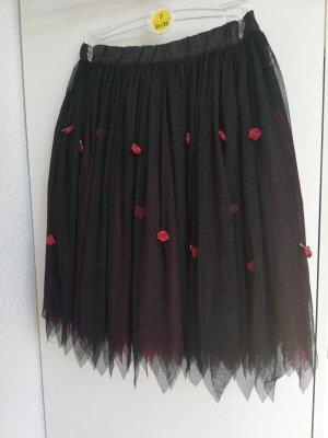 Queen of Darkness Tüll Rock knielang Petticoat neu rot schwarz Rosen gothic S M 36 38