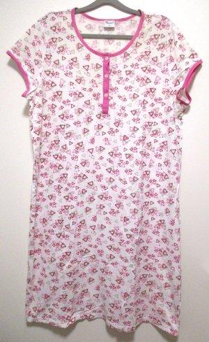 Queentex Damen Nachthemd Gr. 48 weiß pink Druck Knopfleiste BW