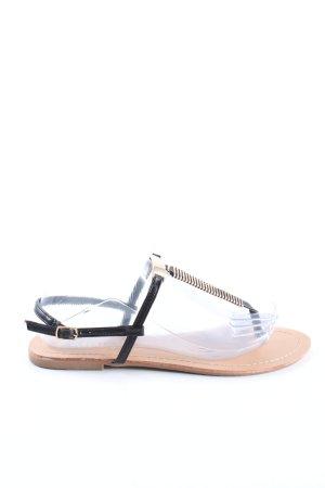 Queentina Sandalo toe-post nero-oro elegante