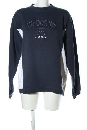 Quicksilver Sweatshirt schwarz-weiß Schriftzug gestickt Casual-Look