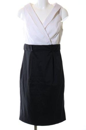 R&M Richards Etuikleid weiß-schwarz Casual-Look