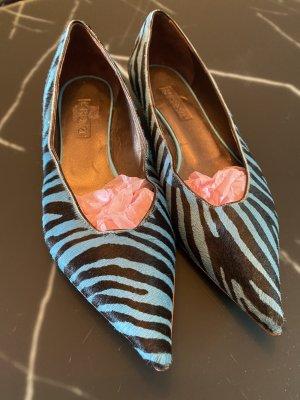 R&Renzi Ballerina a punta nero-blu fiordaliso