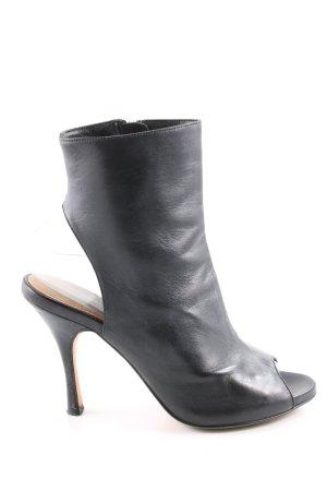 R&Renzi Peep Toe Booties black casual look