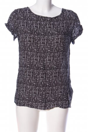 R95th Kurzarm-Bluse schwarz-weiß abstraktes Muster Casual-Look