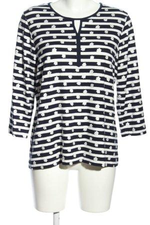 Rabe T-Shirt weiß-schwarz Streifenmuster Casual-Look