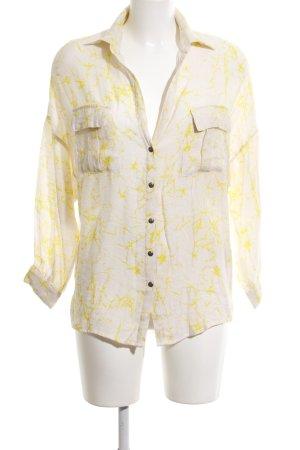 rabens saloner Oversized Bluse weiß-blassgelb abstraktes Muster Casual-Look
