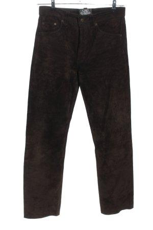 Raberg Pantalon en cuir brun style décontracté