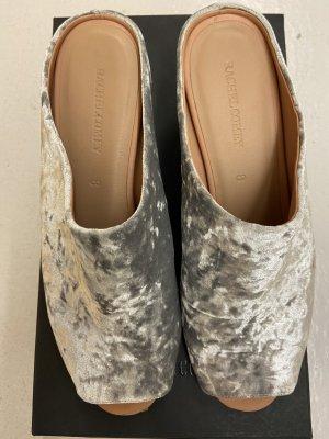 Heel Pantolettes light grey leather