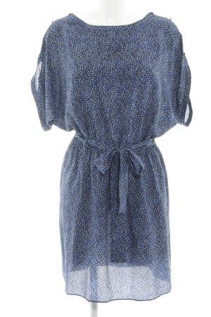 Rachel Zoe Kurzarmkleid blau-wollweiß Allover-Druck schlichter Stil
