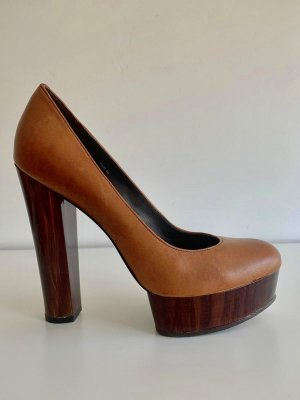 RACHEL ZOE  Luggage Brushed Leather LEILA Platform Pumps