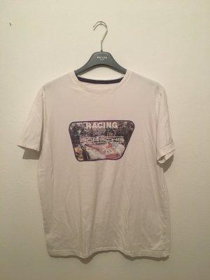 Racing Porsche l large oversize boyfriend lässig cool Retro Auto car Shirt Oberteil rundhals weiß top drück Print