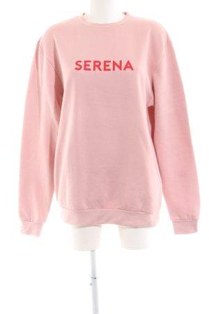 Rad. Oversized Pullover pink Schriftzug gedruckt Casual-Look