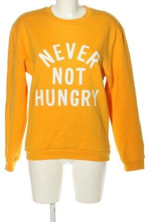 Rad. Sweatshirt hellorange-weiß Schriftzug gedruckt Casual-Look