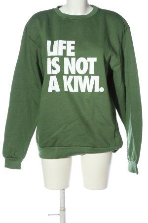 Rad. Sweatshirt khaki-weiß Schriftzug gedruckt Casual-Look