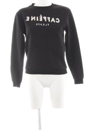 Rad. Sweatshirt schwarz-wollweiß Schriftzug gedruckt Casual-Look
