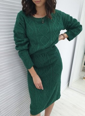 Knitted Twin Set forest green