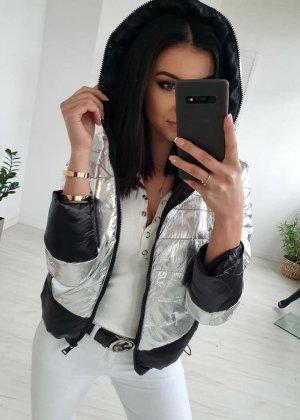 Giubbotto trapuntato nero-argento