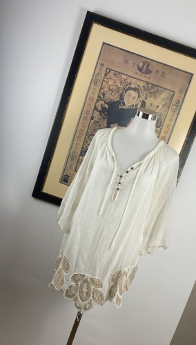 raffaela d'angelo Robe tunique blanc cassé-crème soie