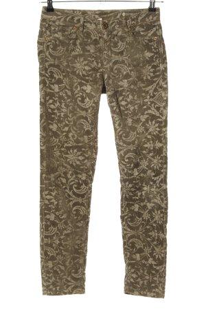 Raffaello Rossi Corduroy Trousers brown-cream abstract pattern casual look