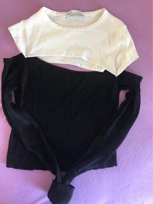 Zara Prążkowana koszulka czarny-biały Poliamid