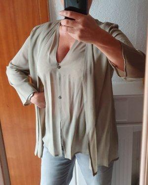 Raffinierte Bluse in schilfgrün, leicht transparent