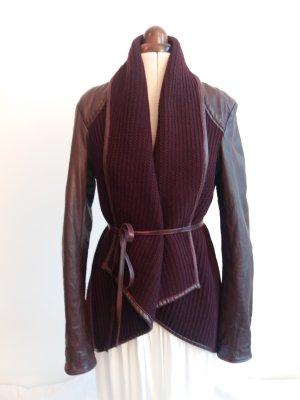 Raffinierte Lederjacke mit Strick von Maze Gr. M
