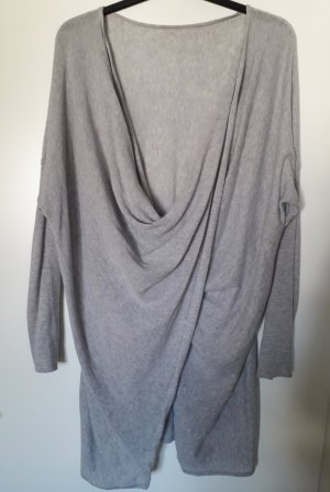 Pull long gris clair coton
