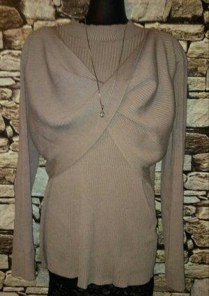 Bon Prix Pull tricoté gris brun-marron clair tissu mixte