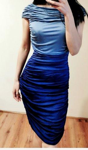 Raffung hochwertig Maxime geraffte Minikleid Abstufung Plisseekleid Farbverlauf