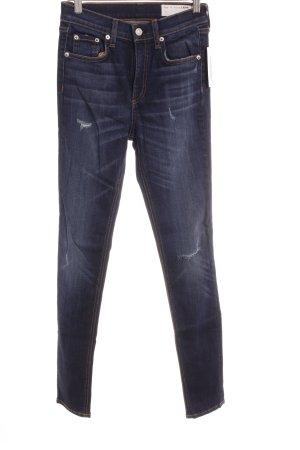 Rag & bone High Waist Jeans dunkelblau Street-Fashion-Look