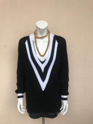 Rag&Bone Sweater Gr. S Pullover Talia schwarz weiß tiefer Ausschnitt oversize Longpullover