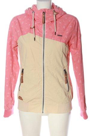 Ragwear Giacca con cappuccio rosa-crema Stampa a tema stile casual