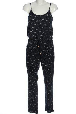 Ragwear Langer Jumpsuit schwarz-weiß Allover-Druck Casual-Look