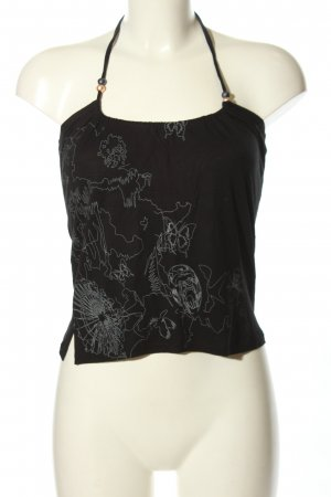 Ragwear Neckholdertop schwarz-weiß Motivdruck Casual-Look