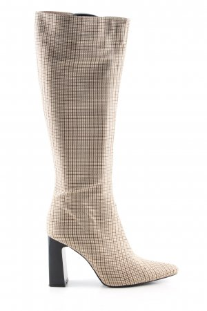RAID High Heel Stiefel creme-braun Karomuster Casual-Look