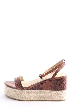 RAID Sandales à plateforme brun-blanc cassé motif animal style décontracté