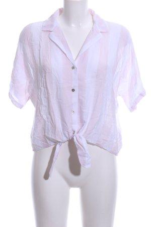 Rails Kurzarm-Bluse weiß-pink Streifenmuster Casual-Look