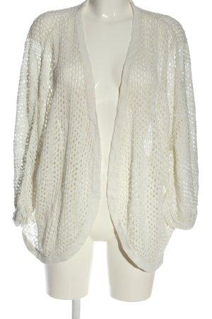 Rainbow Cardigan en crochet blanc cassé Motif de tissage style décontracté