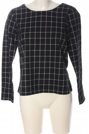 Rainbow Long Sleeve Blouse black-white check pattern business style
