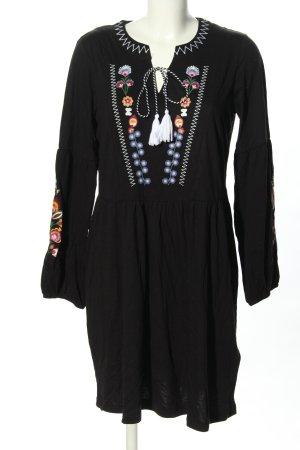Rainbow Longsleeve Dress black themed print casual look