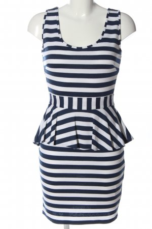 Rainbow Peplum Dress blue-white striped pattern casual look