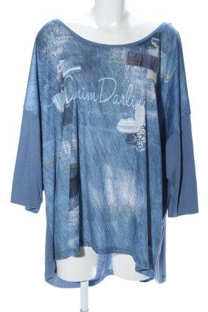 Rainbow T-Shirt blau-weiß Motivdruck Casual-Look