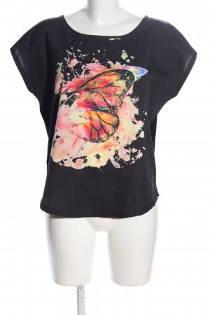 Rainbow T-Shirt schwarz-nude Motivdruck Casual-Look
