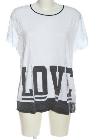 Rainbow T-Shirt weiß-hellgrau Schriftzug gedruckt Casual-Look