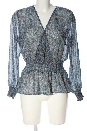 Rainbow Transparenz-Bluse blau abstraktes Muster Casual-Look