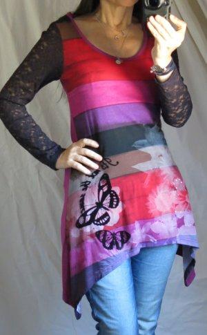 Rainbow Tunika Shirt, Longshirt, Hippie, Zipfel, Spitze, Jersey, A-Linie, schönes Dekolete, Rundhals, Strass und Applikationen, Streif, bunt, rot, pink, fuchsia, violett, braun, schwarz, bunt, Top Zustand, Gr. S/M